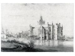 Kasteel Montfoort in Montfoort voordat de Fransen het bouwwerk verwoestten. Van het oorspronkelijke gebouw resteert nu alleen de voorpoort – Tekening van Roelant Roghman, 1646-1647 (bron: Nederlandse Kastelenstichting).