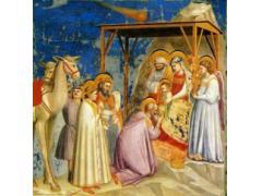 Giotto di Bondi schildert in 1304 of 1306 deze voorstelling van de Aanbidding der Wijzen voor het kind Christus. Hij denkt dat de Kerstster in werkelijkheid een komeet is geweest. (Bron: Musei civici di Padova)